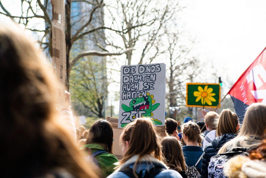 Das Foto von fritzphilipp photography zeigt die Maße von Demonstranten und originelle Plakate, die in Frankfurt immer freitags auf die Straße gehen
